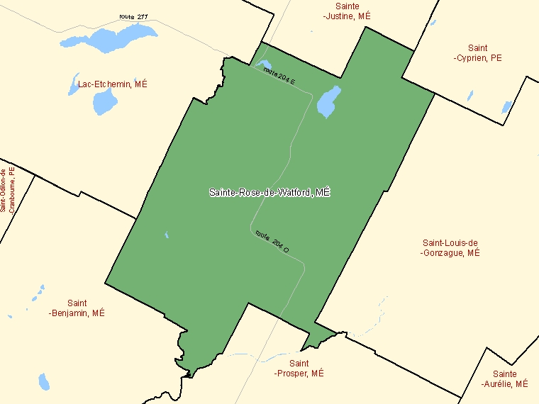 Map: Sainte-Rose-de-Watford, Municipalité, Census Subdivision (shaded in green), Quebec