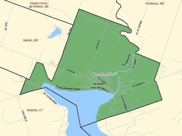Map: Lac-Mégantic, Ville, Census Subdivision (shaded in green), Quebec