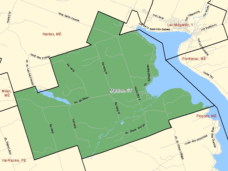 Map: Marston, Canton (municipalité de), Census Subdivision (shaded in green), Quebec