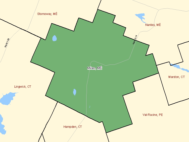 Map: Milan, Municipalité, Census Subdivision (shaded in green), Quebec