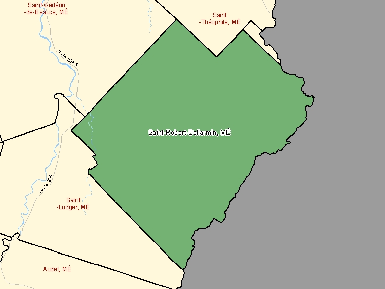 Map: Saint-Robert-Bellarmin, Municipalité, Census Subdivision (shaded in green), Quebec