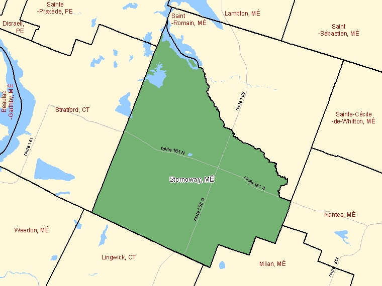 Map: Stornoway, Municipalité, Census Subdivision (shaded in green), Quebec