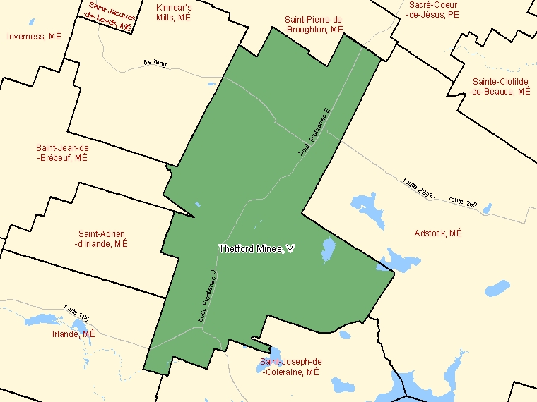 Map: Thetford Mines, Ville, Census Subdivision (shaded in green), Quebec