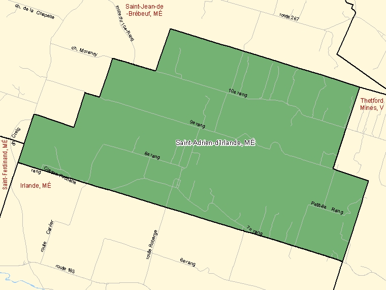 Map: Saint-Adrien-d'Irlande, Municipalité, Census Subdivision (shaded in green), Quebec