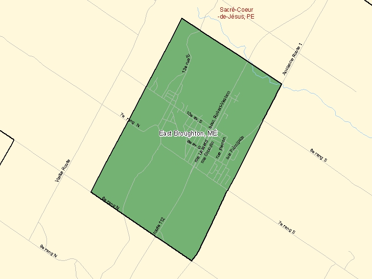 Map: East Broughton, Municipalité, Census Subdivision (shaded in green), Quebec