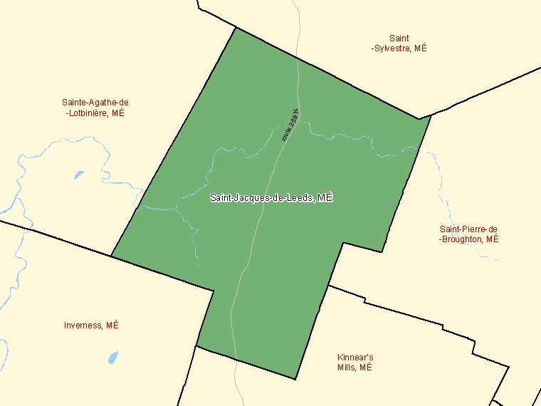 Map: Saint-Jacques-de-Leeds, Municipalité, Census Subdivision (shaded in green), Quebec