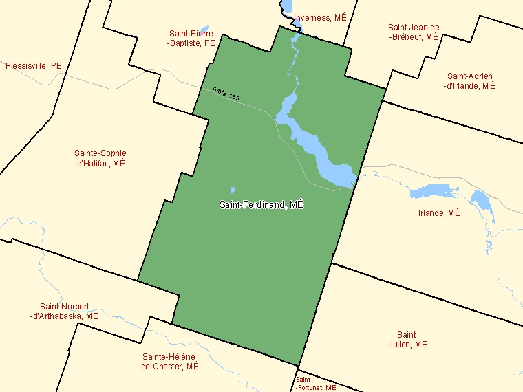 Map: Saint-Ferdinand, Municipalité, Census Subdivision (shaded in green), Quebec