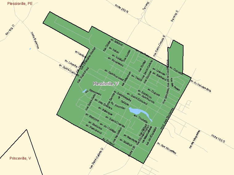 Map: Plessisville, Ville, Census Subdivision (shaded in green), Quebec