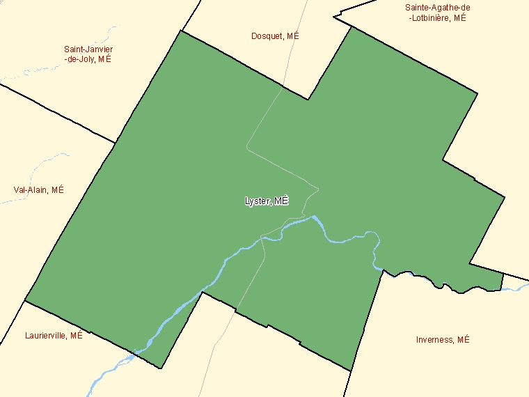 Map: Lyster, Municipalité, Census Subdivision (shaded in green), Quebec