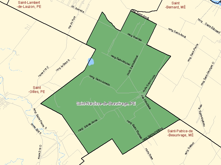 Map: Saint-Narcisse-de-Beaurivage, Paroisse (municipalité de), Census Subdivision (shaded in green), Quebec