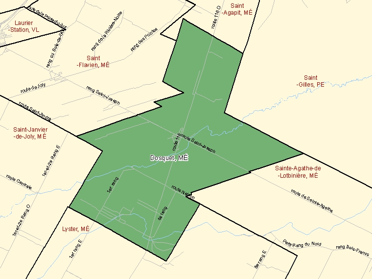 Map: Dosquet, Municipalité, Census Subdivision (shaded in green), Quebec
