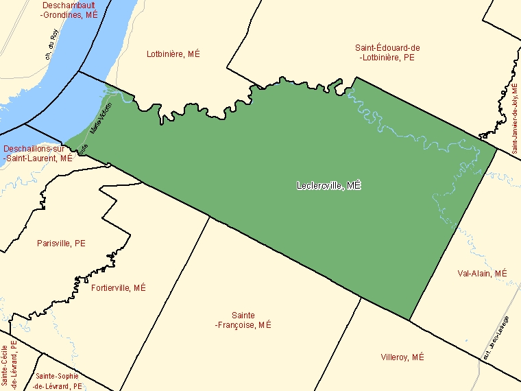 Map: Leclercville, Municipalité, Census Subdivision (shaded in green), Quebec