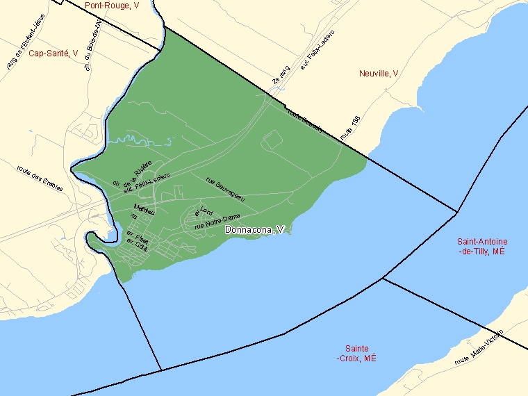 Map: Donnacona, Ville, Census Subdivision (shaded in green), Quebec