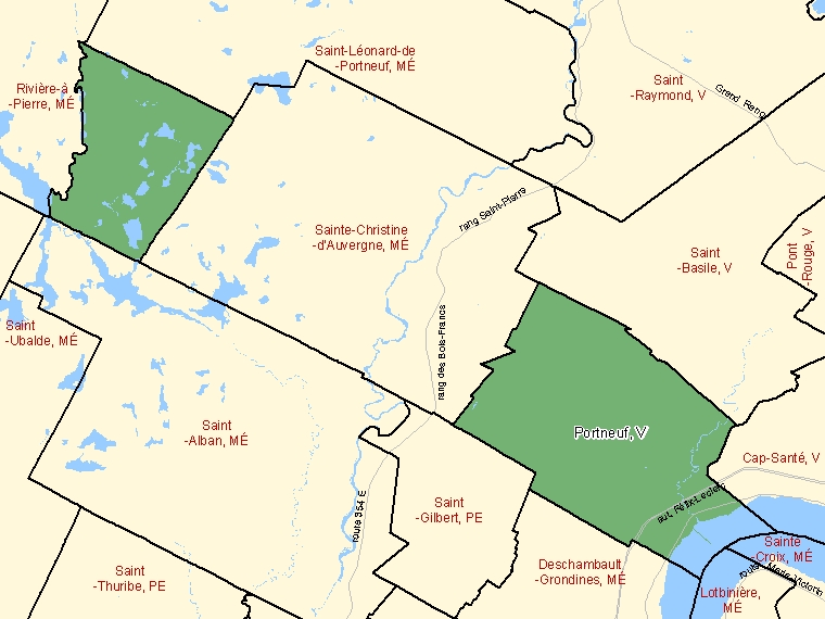 Map: Portneuf, Ville, Census Subdivision (shaded in green), Quebec