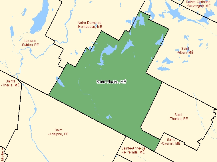 Map: Saint-Ubalde, Municipalité, Census Subdivision (shaded in green), Quebec