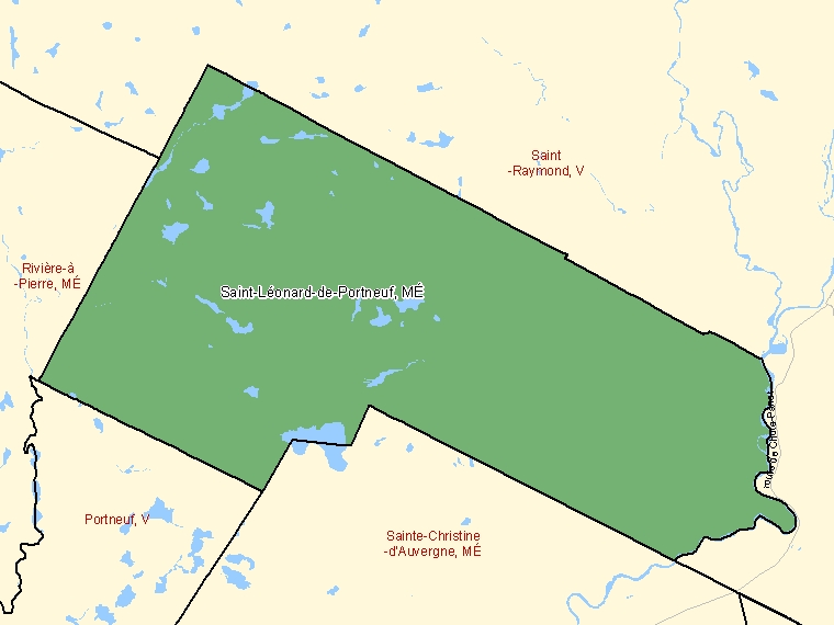 Map: Saint-Léonard-de-Portneuf, Municipalité, Census Subdivision (shaded in green), Quebec