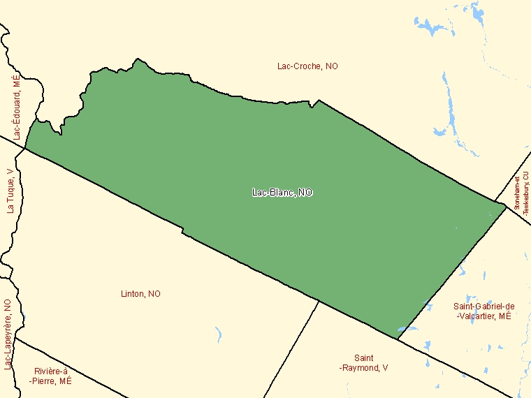 Map: Lac-Blanc, Unorganized, Census Subdivision (shaded in green), Quebec