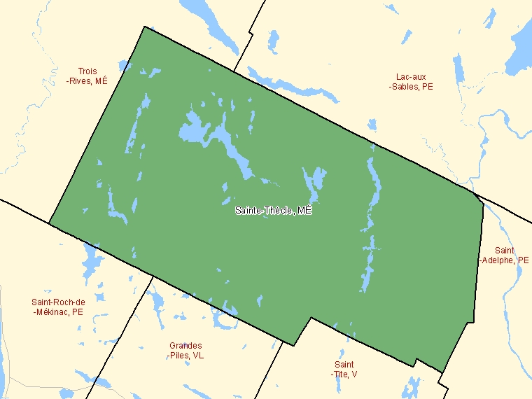 Map: Sainte-Thècle, Municipalité, Census Subdivision (shaded in green), Quebec