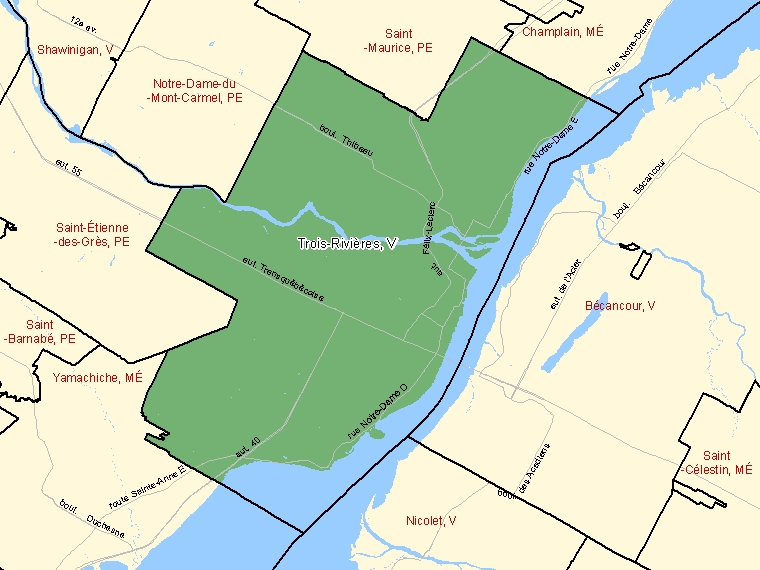 Map: Trois-Rivières, Ville, Census Subdivision (shaded in green), Quebec