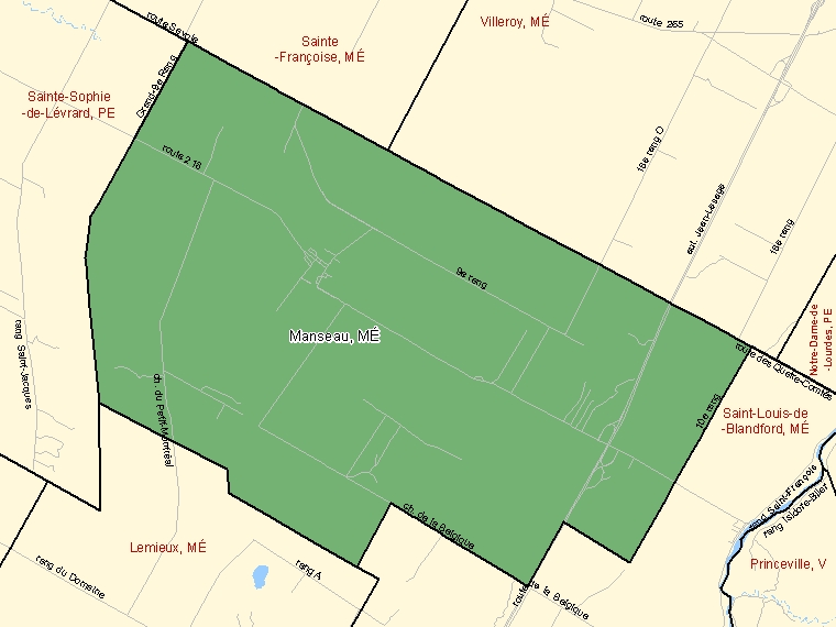 Map: Manseau, Municipalité, Census Subdivision (shaded in green), Quebec