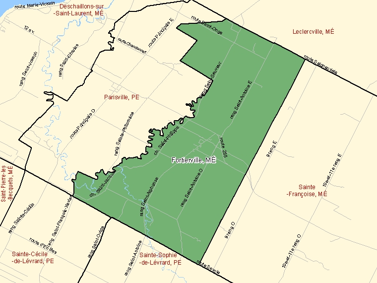 Map: Fortierville, Municipalité, Census Subdivision (shaded in green), Quebec
