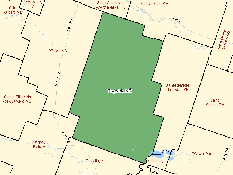 Map: Tingwick, Municipalité, Census Subdivision (shaded in green), Quebec