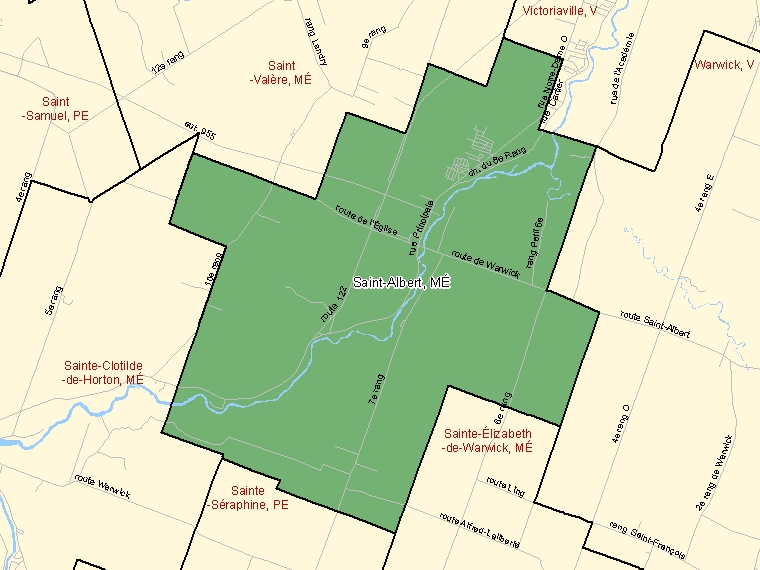 Map: Saint-Albert, Municipalité, Census Subdivision (shaded in green), Quebec