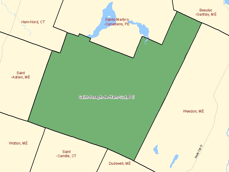 Map: Saint-Joseph-de-Ham-Sud, Paroisse (municipalité de), Census Subdivision (shaded in green), Quebec