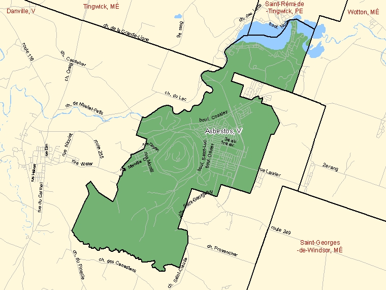 Map: Asbestos, Ville, Census Subdivision (shaded in green), Quebec