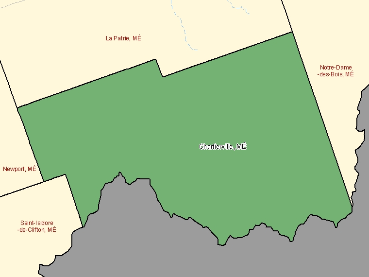 Map: Chartierville, Municipalité, Census Subdivision (shaded in green), Quebec