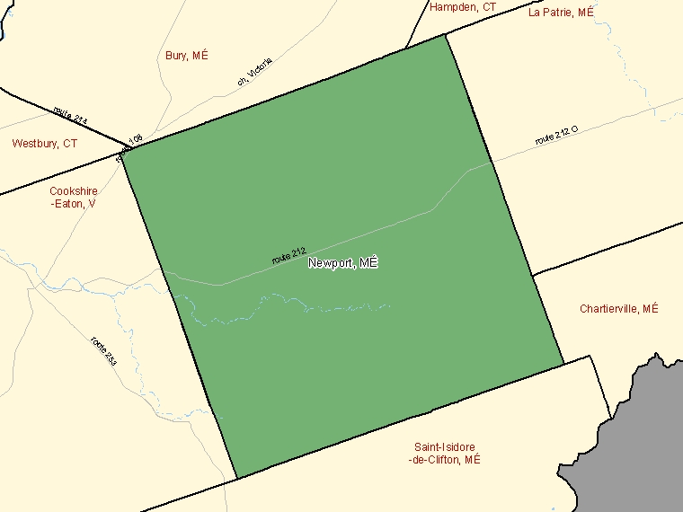 Map: Newport, Municipalité, Census Subdivision (shaded in green), Quebec