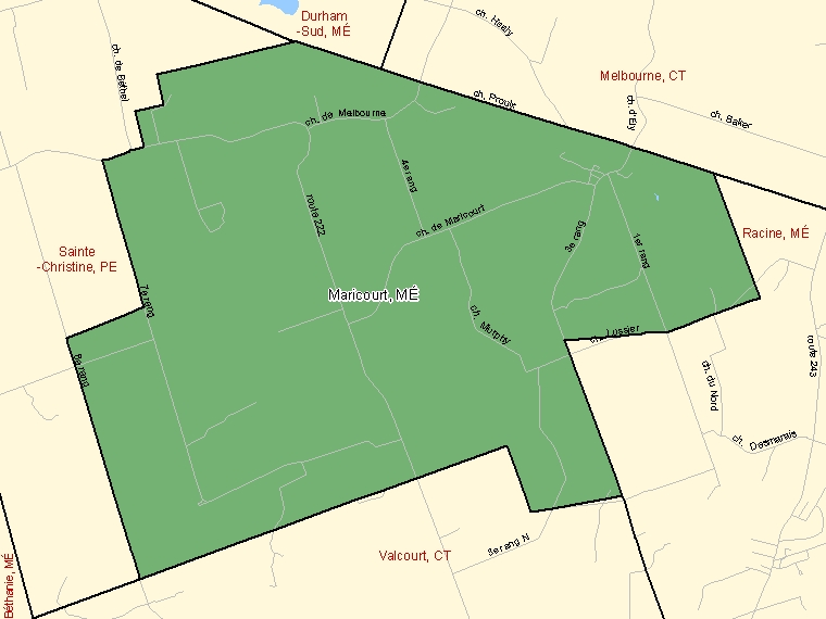 Map: Maricourt, Municipalité, Census Subdivision (shaded in green), Quebec