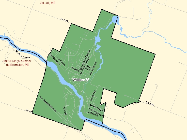 Map of Windsor (shaded in green), Quebec