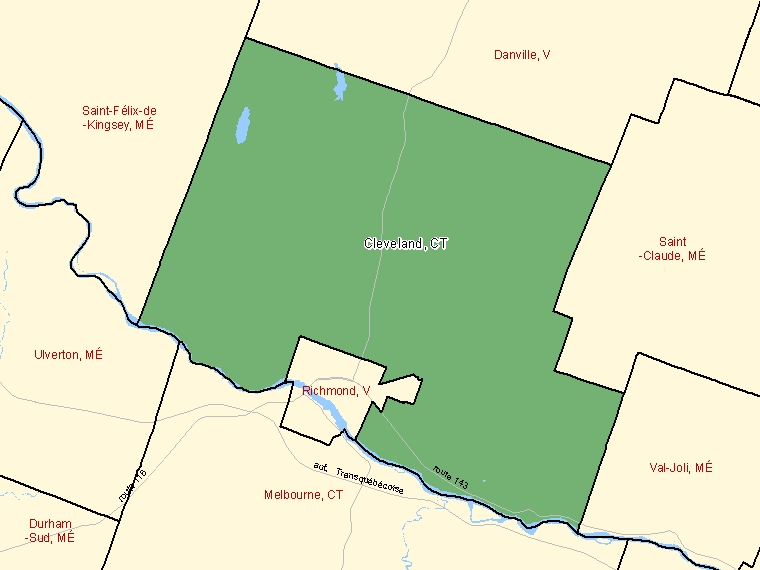 Map: Cleveland, Canton (municipalité de), Census Subdivision (shaded in green), Quebec
