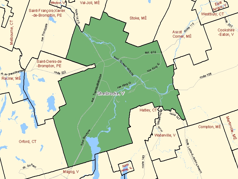 Map: Sherbrooke, Ville, Census Subdivision (shaded in green), Quebec
