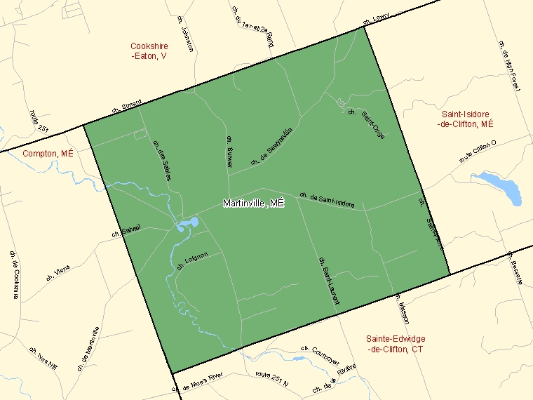 Map: Martinville, Municipalité, Census Subdivision (shaded in green), Quebec