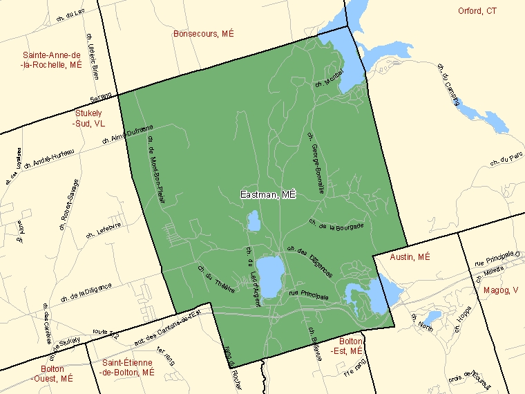 Map: Eastman, Municipalité, Census Subdivision (shaded in green), Quebec