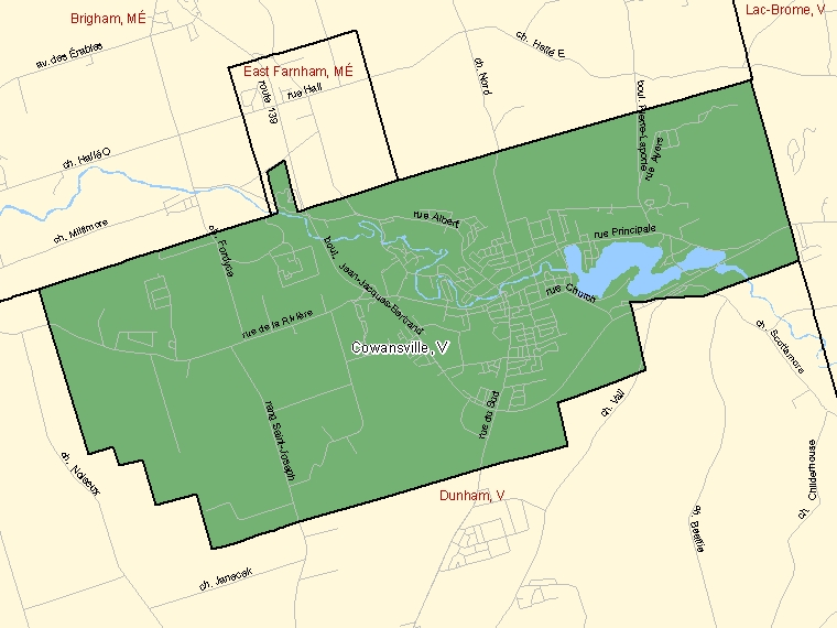 Map: Cowansville, Ville, Census Subdivision (shaded in green), Quebec