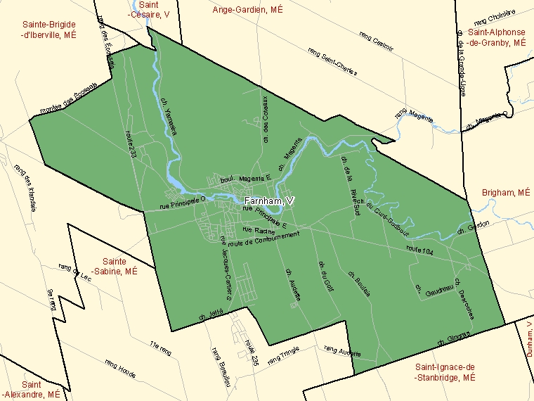 Map: Farnham, Ville, Census Subdivision (shaded in green), Quebec