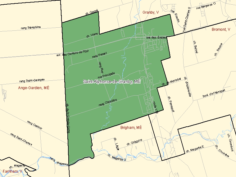 Map: Saint-Alphonse-de-Granby, Municipalité, Census Subdivision (shaded in green), Quebec