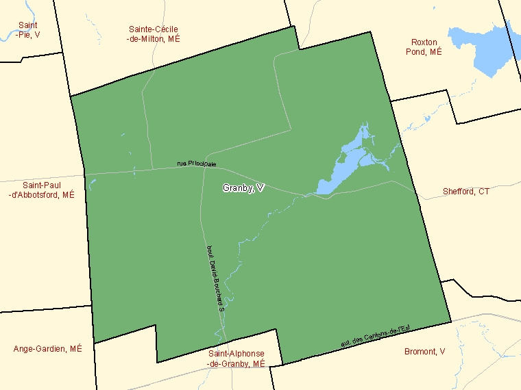 Map: Granby, Ville, Census Subdivision (shaded in green), Quebec