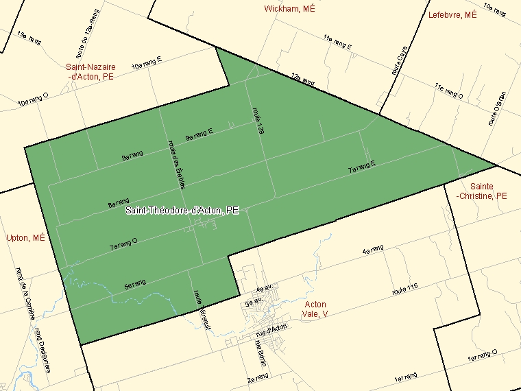 Map: Saint-Théodore-d'Acton, Paroisse (municipalité de), Census Subdivision (shaded in green), Quebec