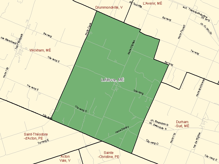 Map: Lefebvre, Municipalité, Census Subdivision (shaded in green), Quebec
