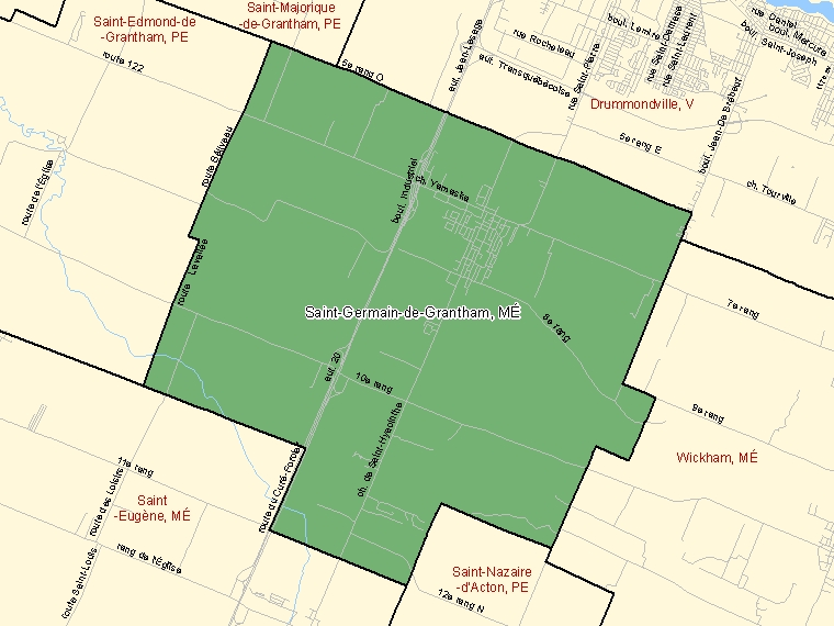 Map: Saint-Germain-de-Grantham, Municipalité, Census Subdivision (shaded in green), Quebec