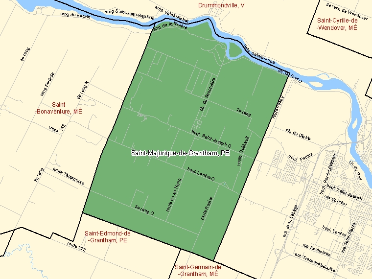 Map: Saint-Majorique-de-Grantham, Paroisse (municipalité de), Census Subdivision (shaded in green), Quebec