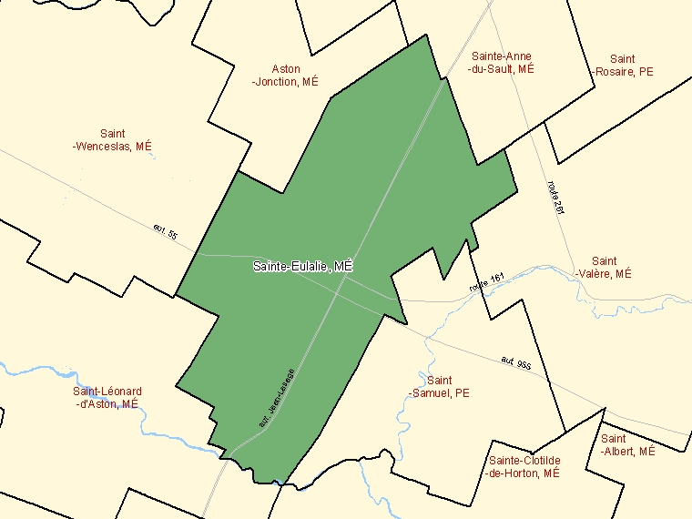 Map: Sainte-Eulalie, Municipalité, Census Subdivision (shaded in green), Quebec