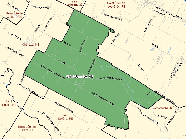 Map: Saint-Barnabé, Paroisse (municipalité de), Census Subdivision (shaded in green), Quebec