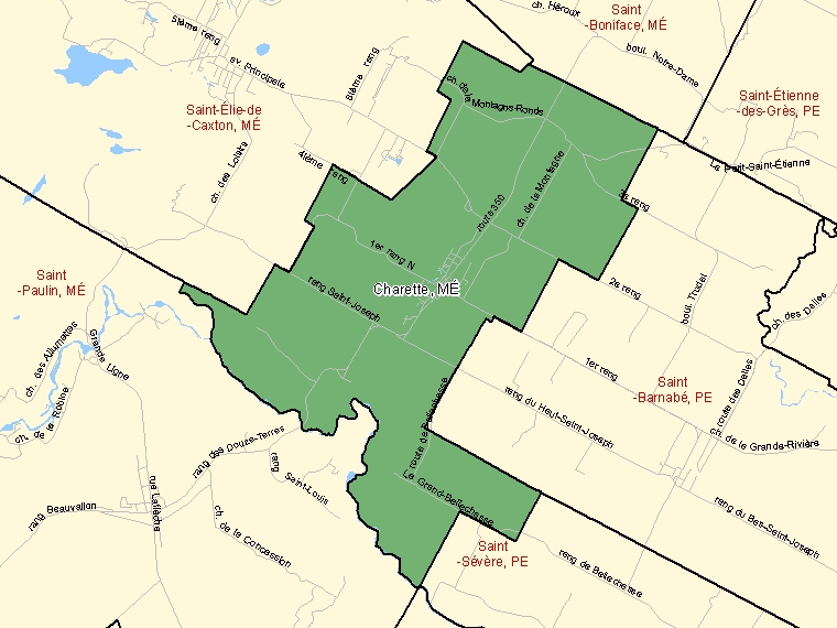 Map: Charette, Municipalité, Census Subdivision (shaded in green), Quebec