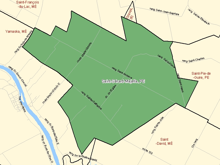 Map: Saint-Gérard-Majella, Paroisse (municipalité de), Census Subdivision (shaded in green), Quebec