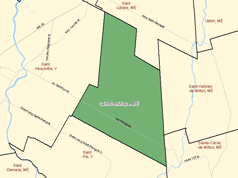 Map: Saint-Dominique, Municipalité, Census Subdivision (shaded in green), Quebec